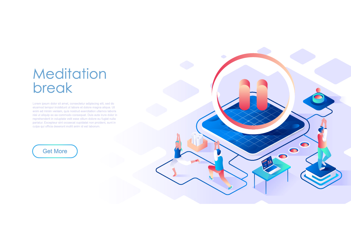 Bundle Isometric Landing Page Template Header example image 17
