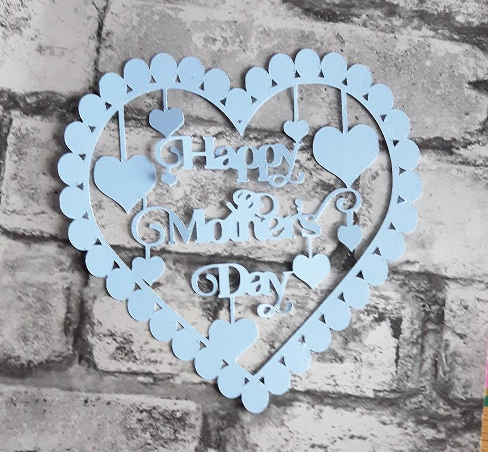 Happy Mother's Day with hearts papercutting template example image 3