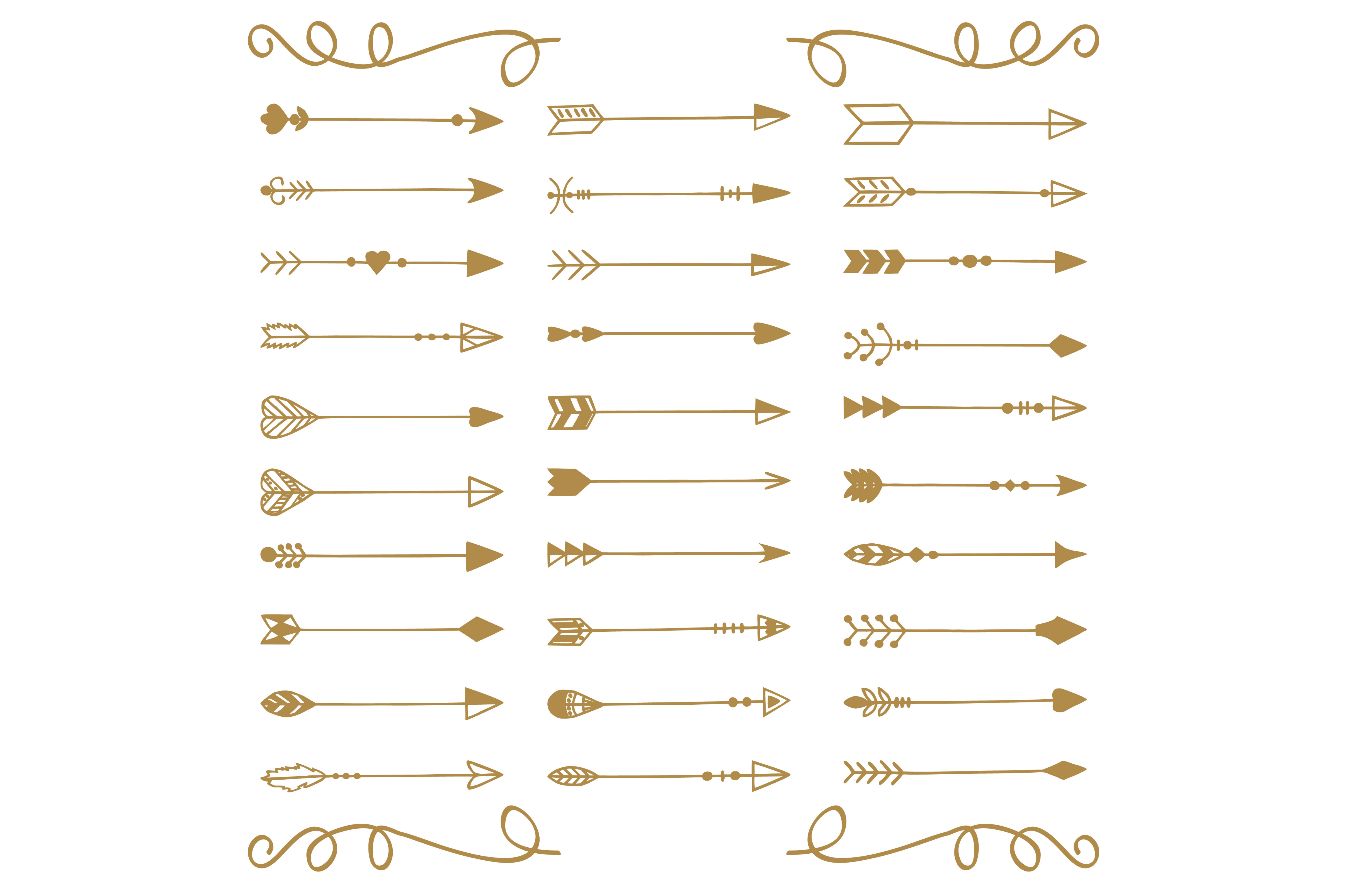 Hand Drawn Arrows Vector + Png example image 2
