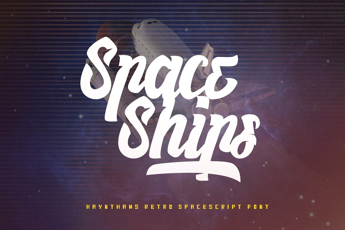 Haynthams Spacescript Font 2 in 1 example image 1