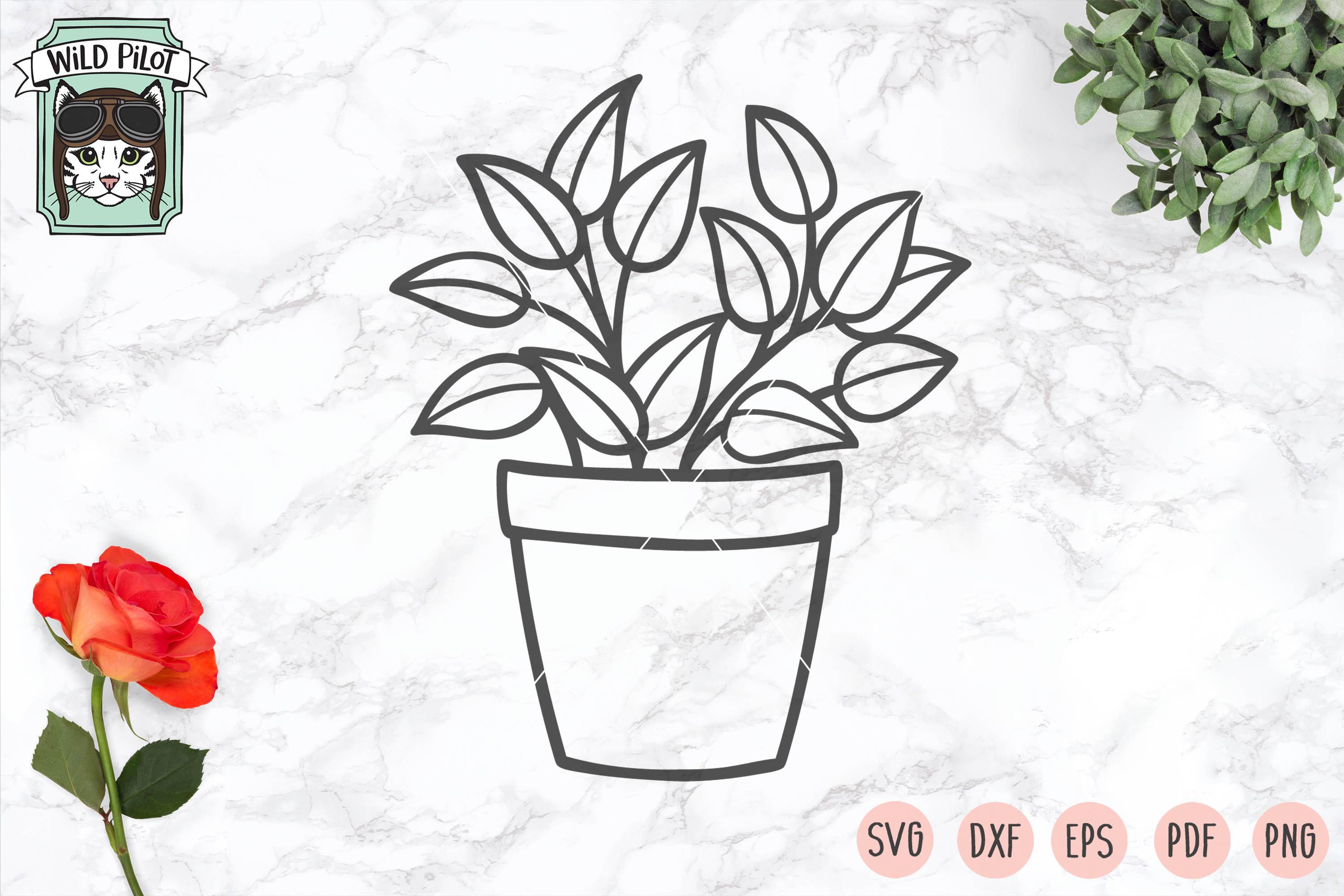 Plants SVG files, Potted Plants cut files, Planters, Garden example image 5