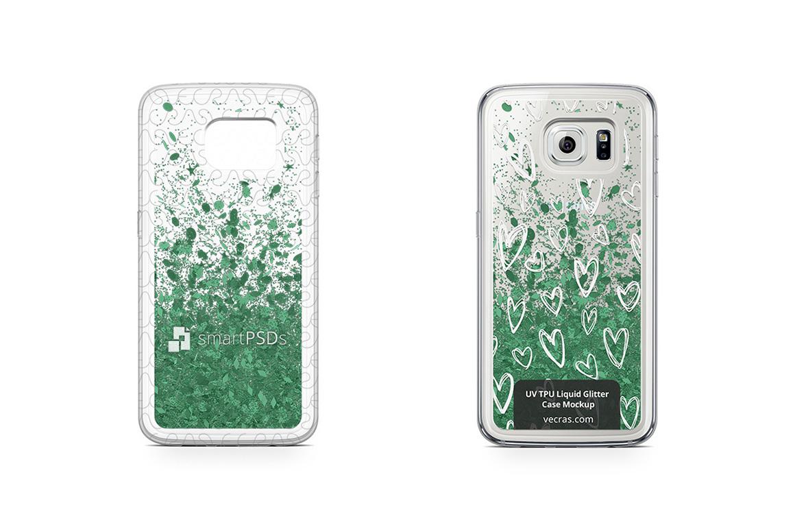 Samsung Galaxy S6 Edge UV TPU Liquid Glitter Case Mockup example image 1
