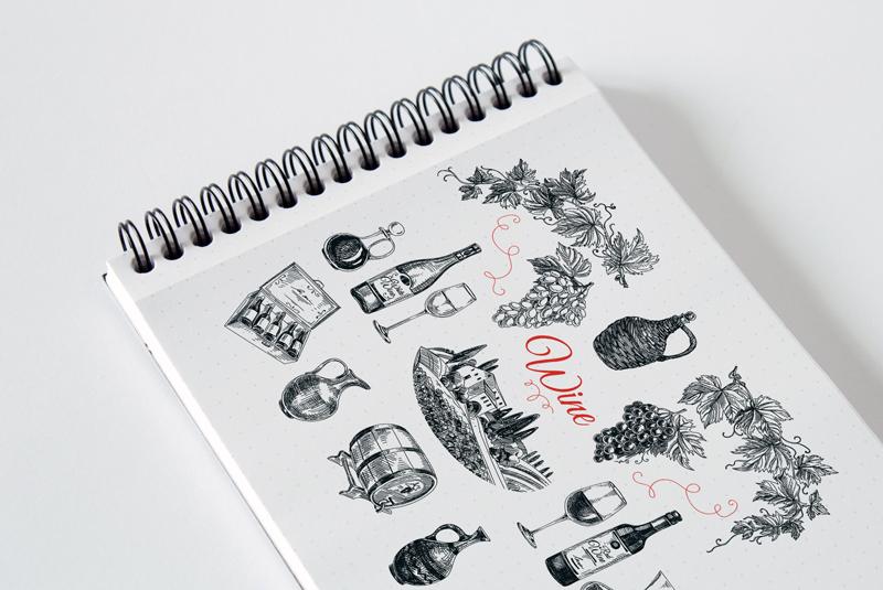 Hand drawn wine illustrations example image 4