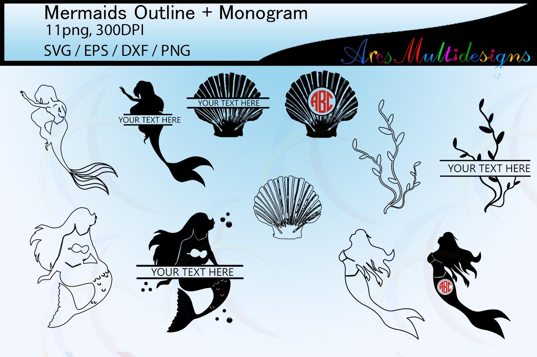 Mermaid silhouette outline / mermaid monogram vector example image 1