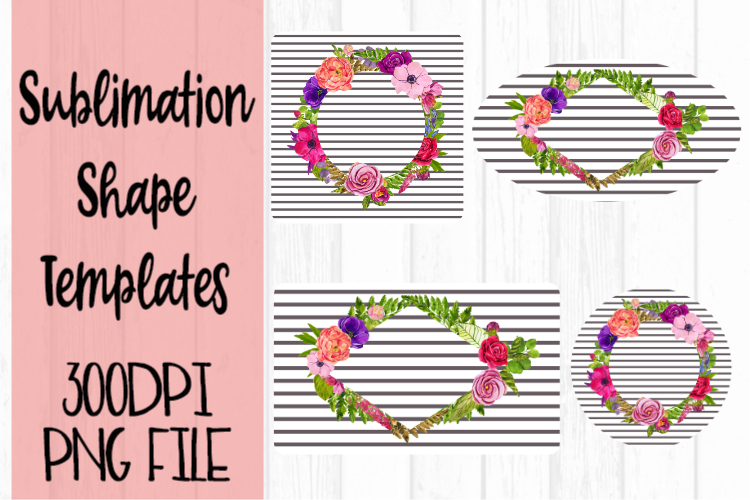 Gray Stripe with Flowers Sublimation Templates example image 1