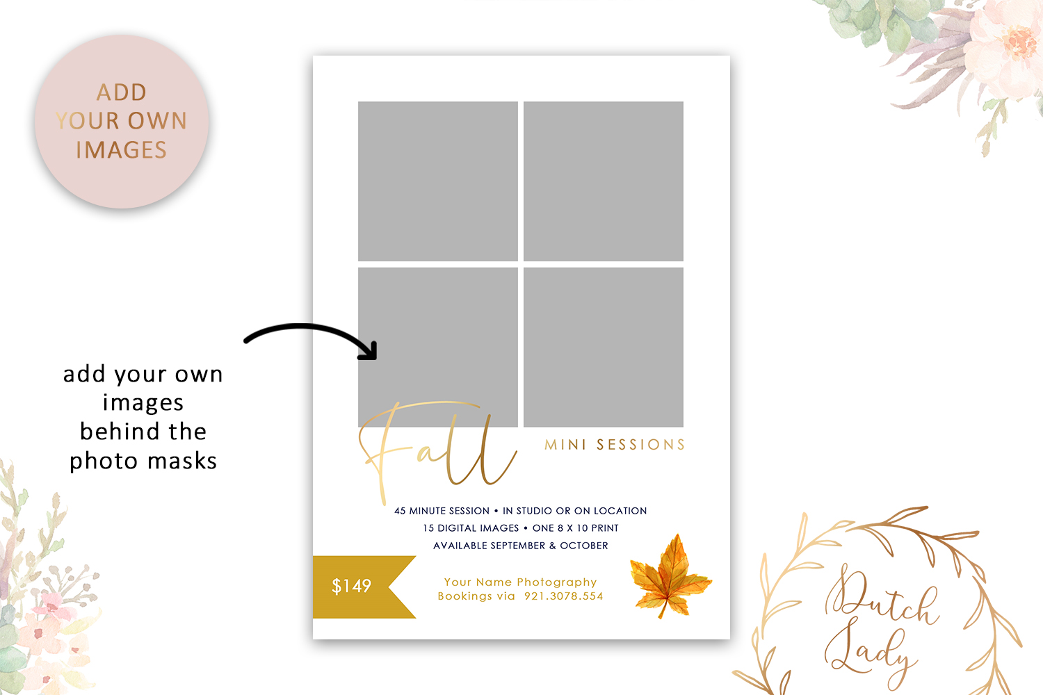 PSD Fall Photo Session Card Template - Design #47 example image 2
