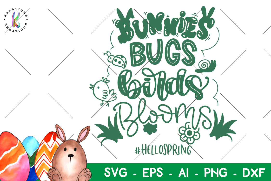 Easter svg Nunnies Bugs Birds Blooms Hello Spring example image 1