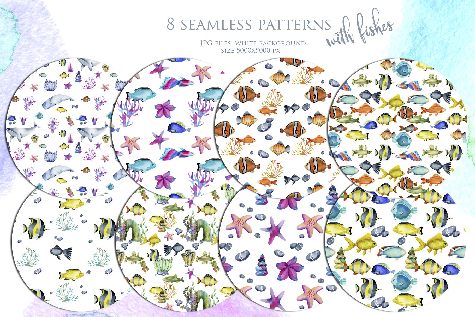 Sea life. Watercolor clip art. example image 9
