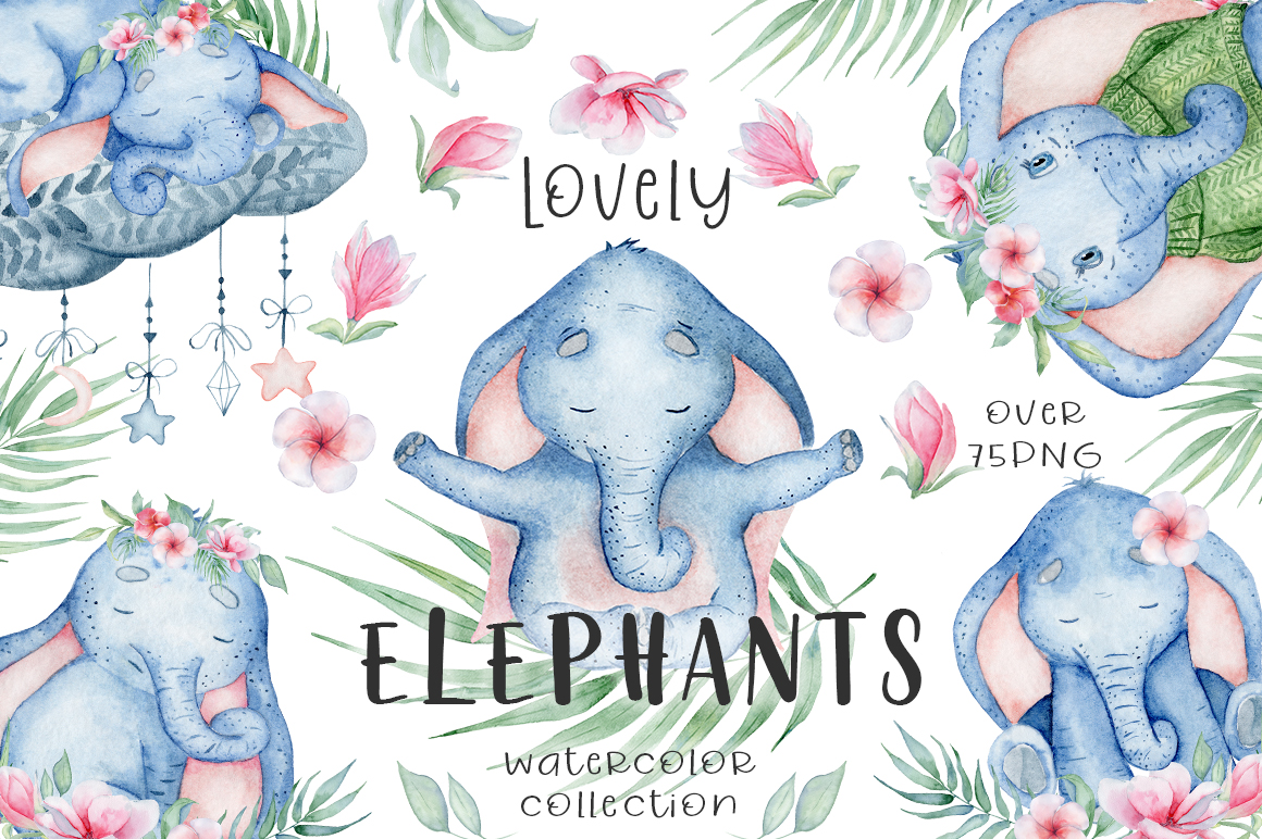 Lovely Elephants Watercolor set animals clipart example image 1