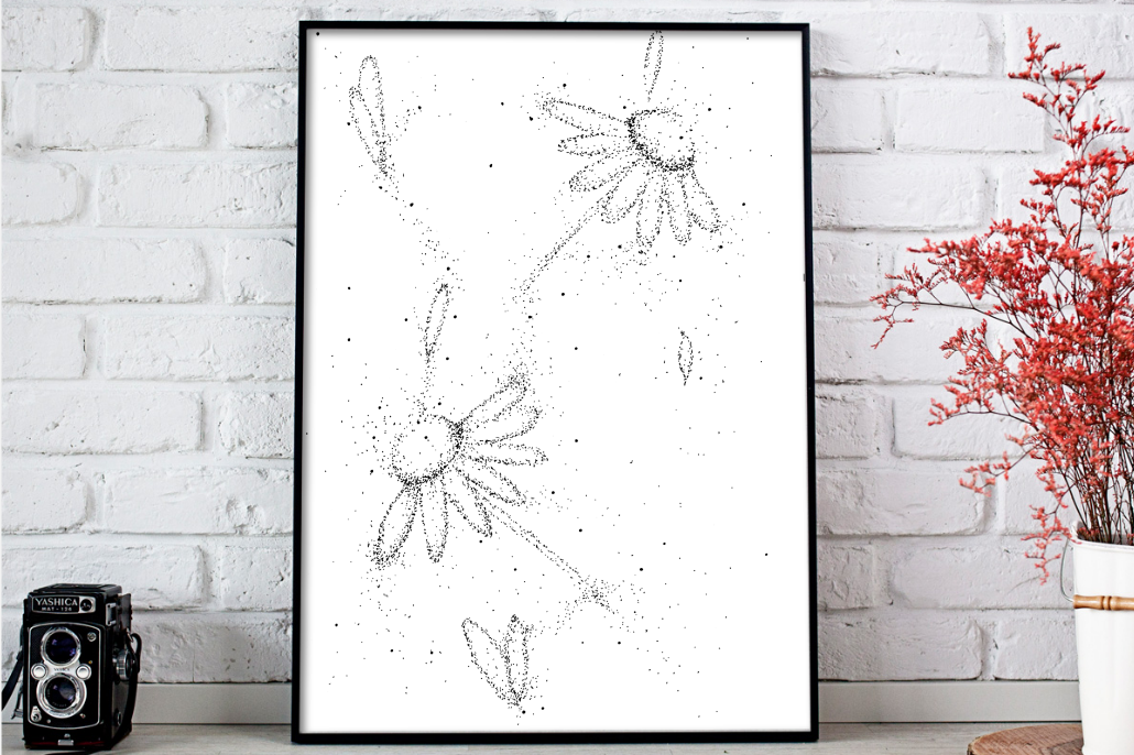 Doodle Flowers Art, A1, SVG example image 1