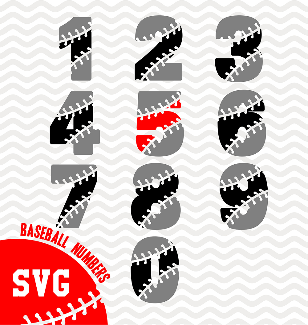 Baseball numbers - SVG, EPS, PNG, JPG, DXF, AI example image 2
