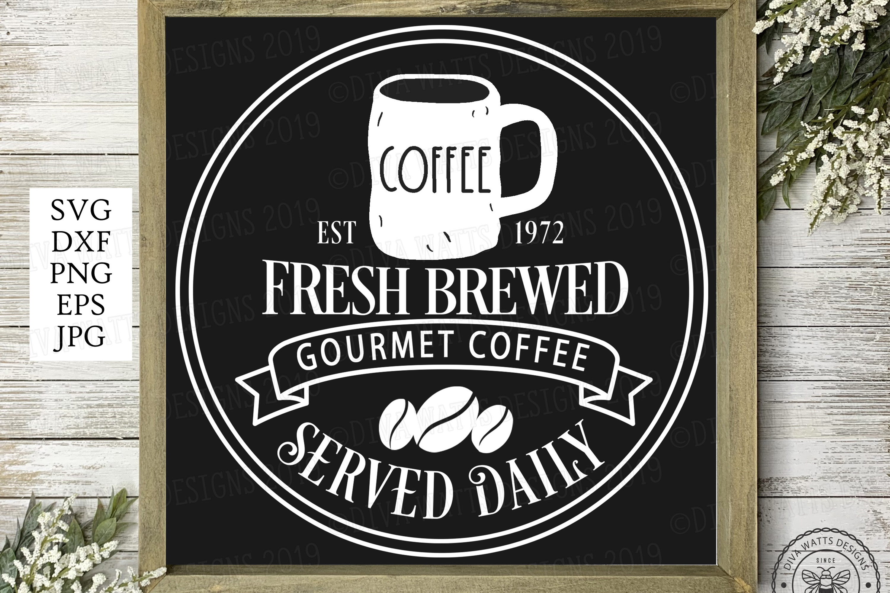 Fresh Brewed Coffee Farmhouse Sign with Lumpy Mug Coffee Bar example image 2