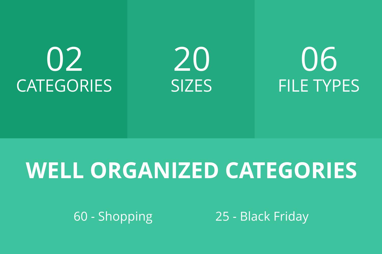 85 Black Friday Flat Icons example image 3