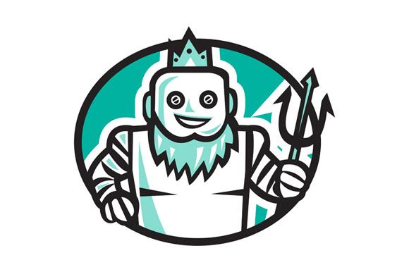 Robotic Poseidon Holding Trident Oval Retro example image 1