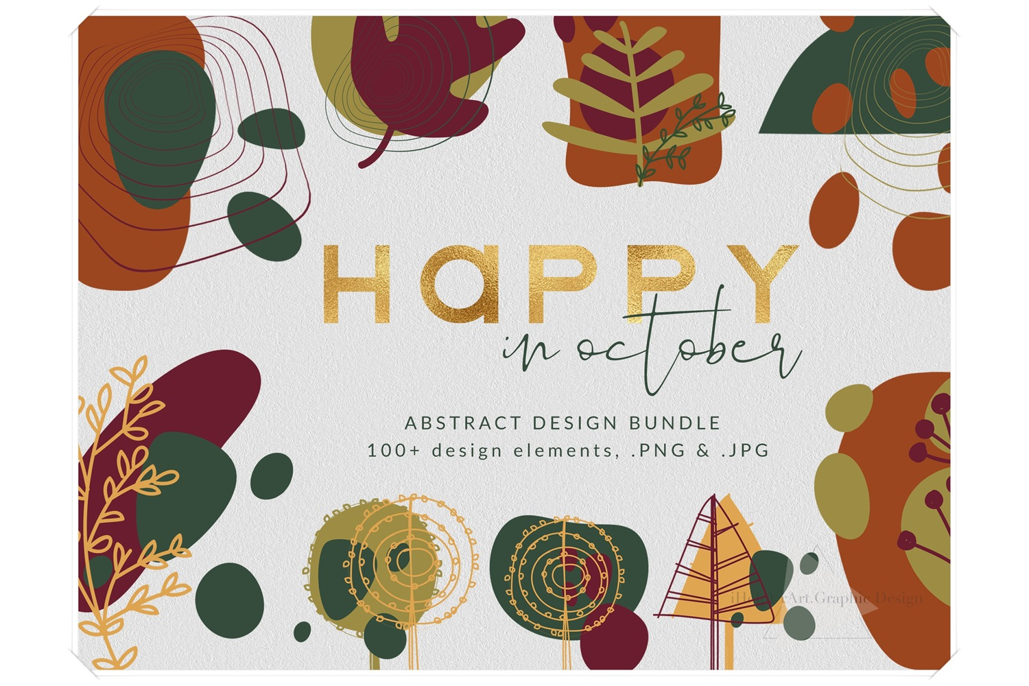 Modern Abstract Design Bundle - Autumn Clip Art example image 1