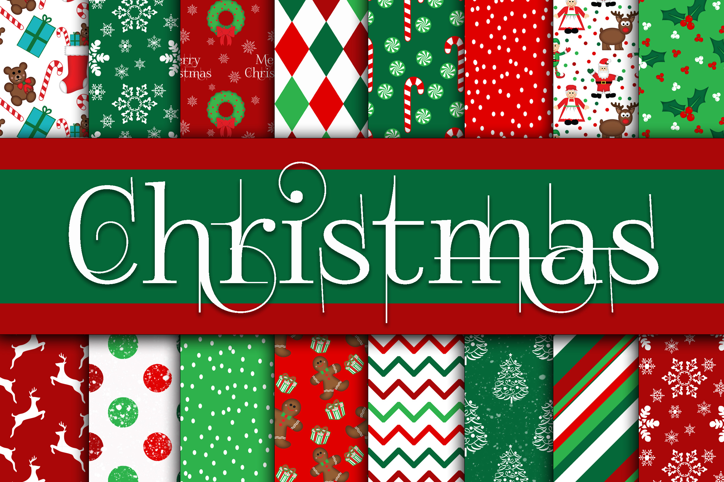 Christmas Bundle - Includes Over 200 Digital Papers example image 4