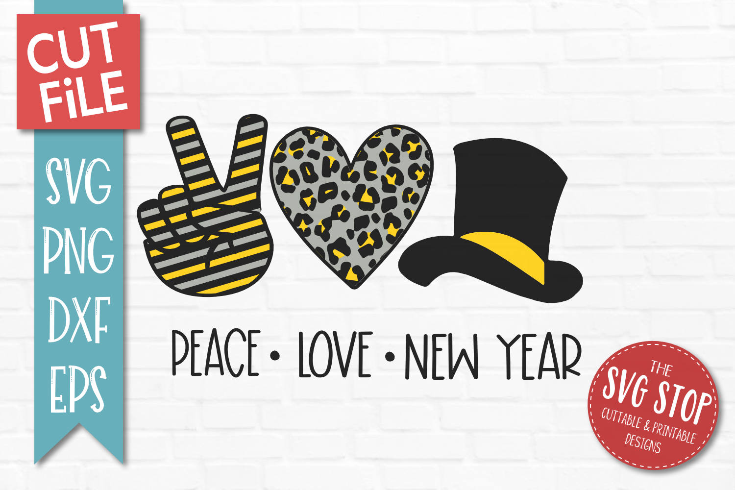 Peace Love New Years Eve SVG, PNG, DXF, EPS example image 1