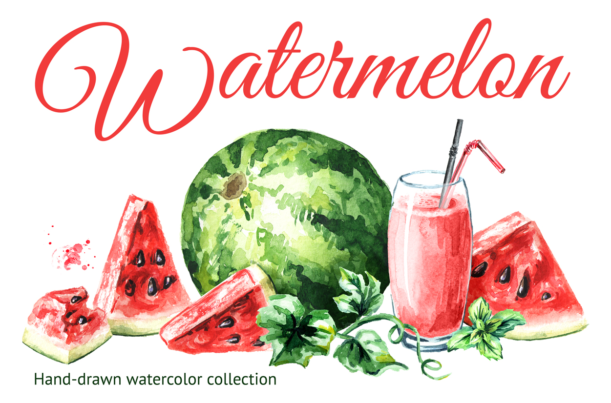 Watermelon. Watercolor collection example image 1
