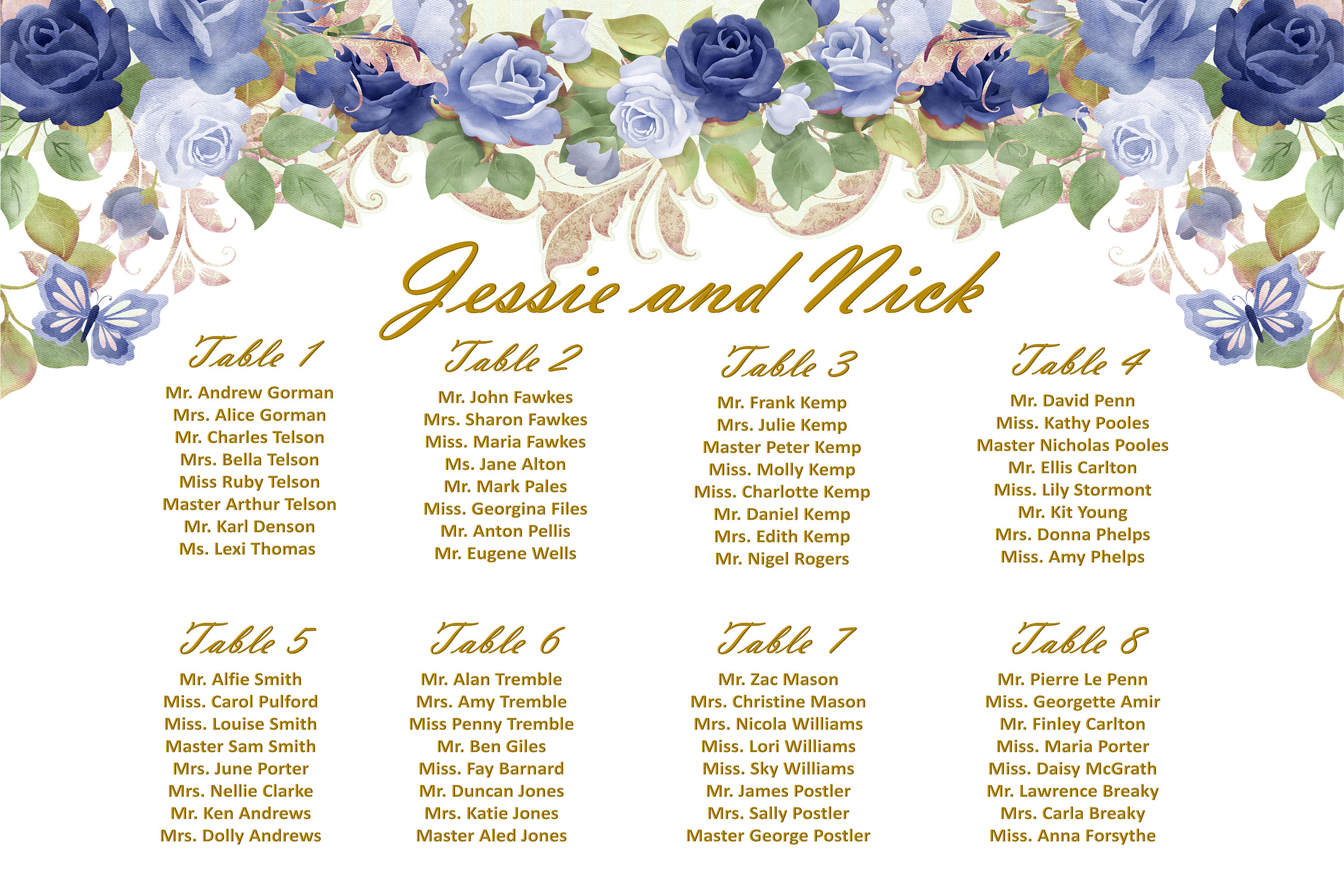 Wedding Seating Plan SignA1, A2 and A3 Template Customisable example image 1