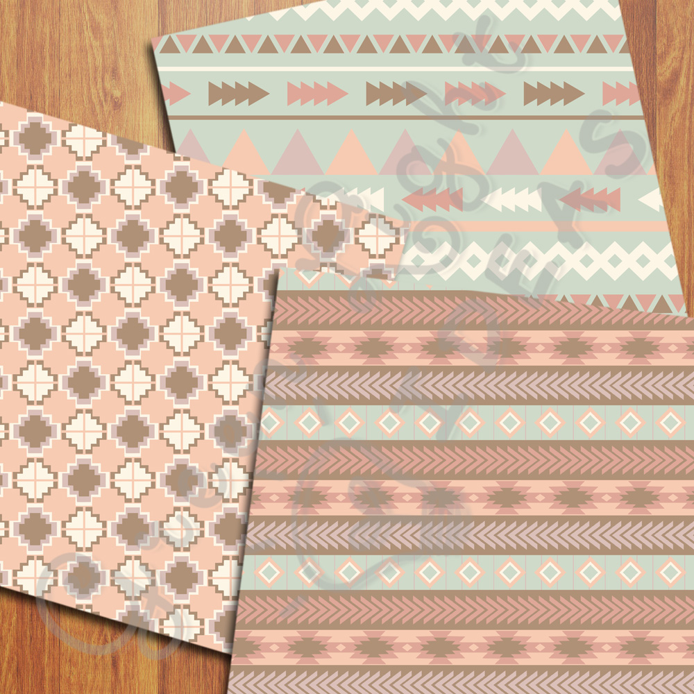 Earth Tribal Digital Papers, Aztec Backgrounds example image 4