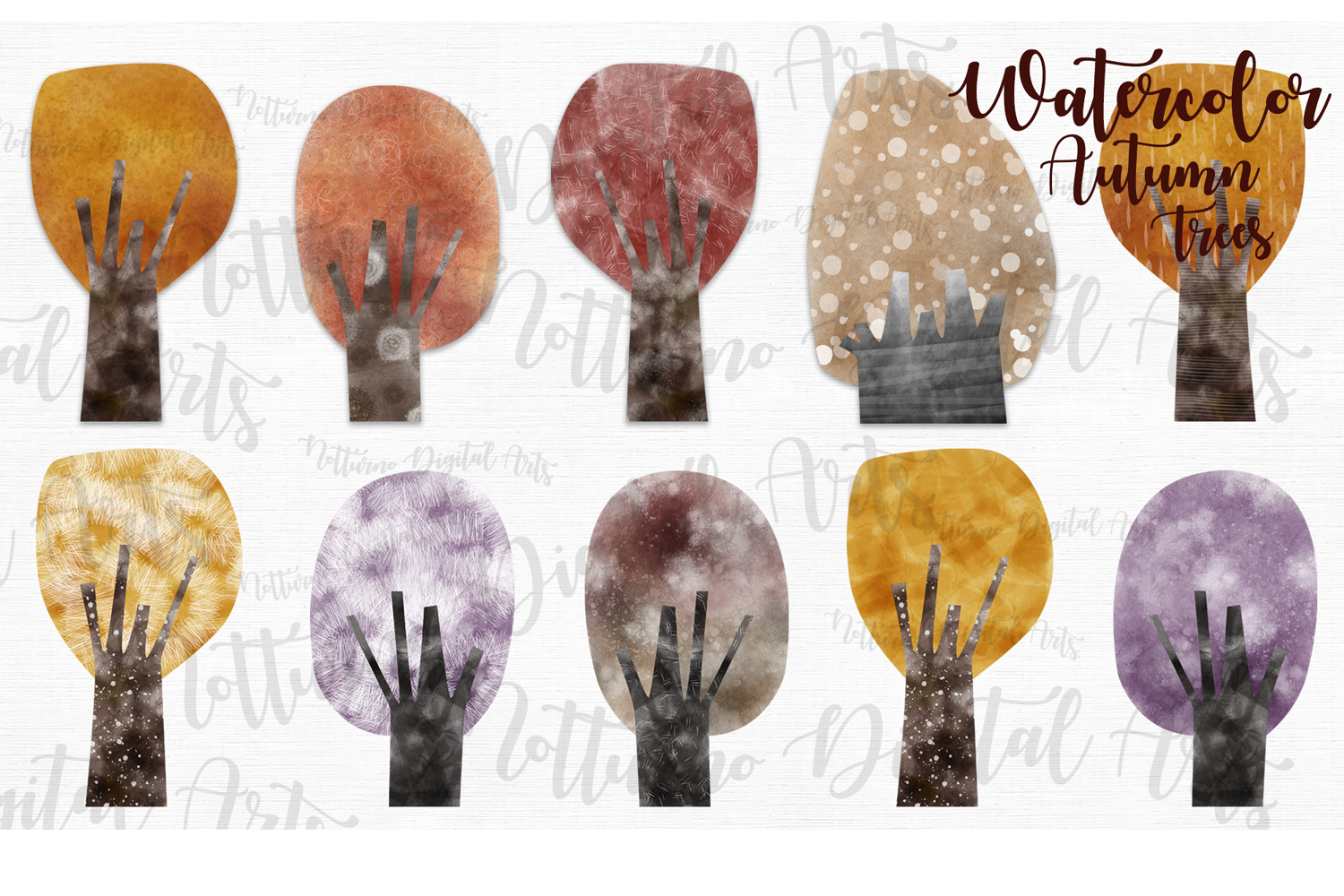 Watercolor Autumn Trees example image 3