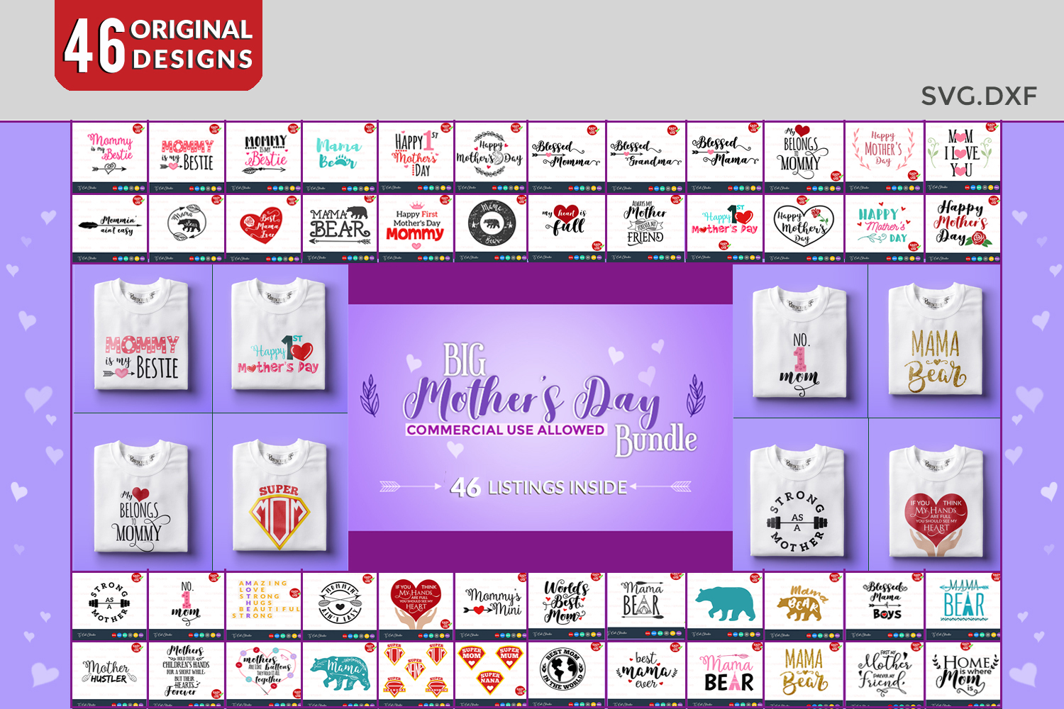Mothers day bundle svg example image 1