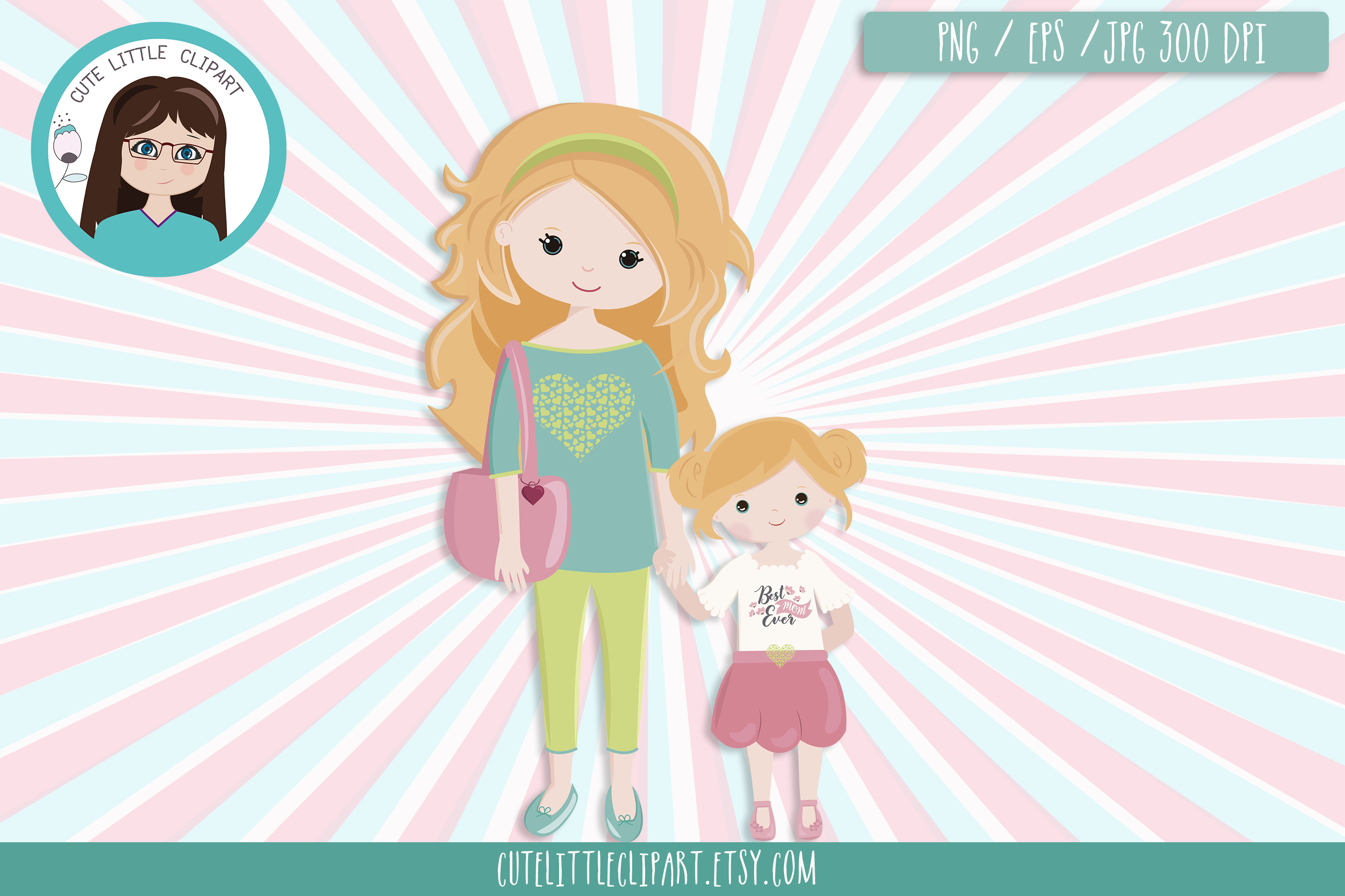Mom and daughter clipart example image 3