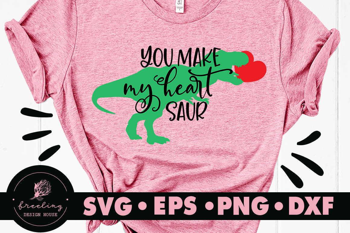 You Make My Heart Saur SVG DXF EPS PNG example image 1
