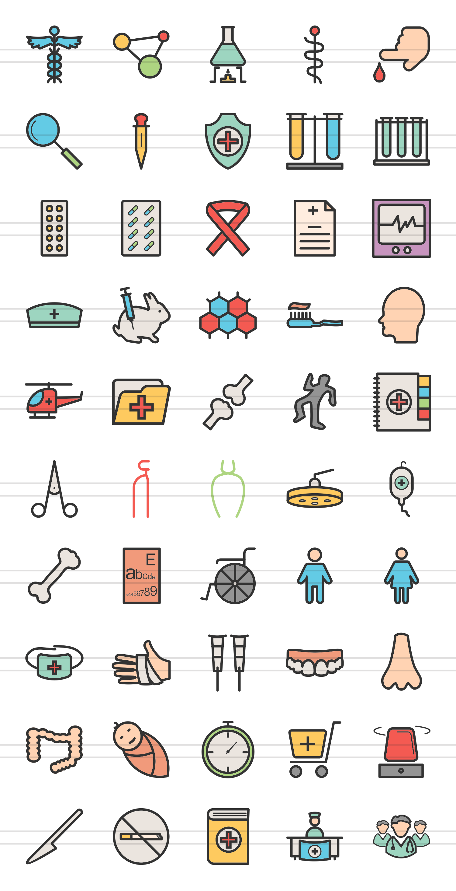 50 Healthcare  Linear Multicolor Icons example image 2