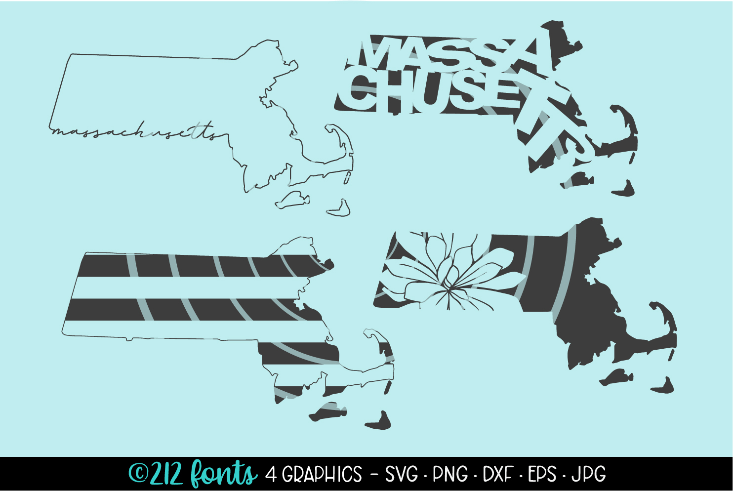 4 - Massachusetts State Map Graphic Cut File DXF PNG JPG SVG example image 1