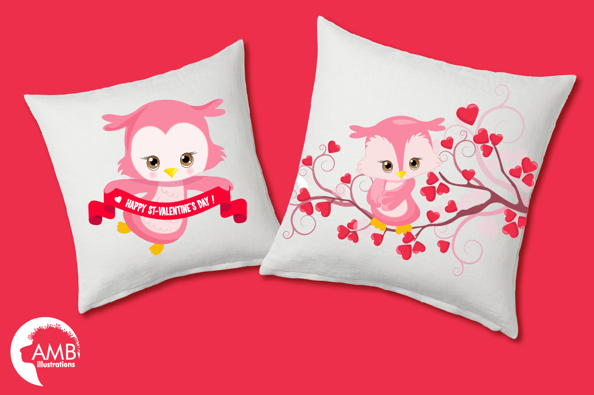 Happy Valentine clipart, Valentine owls clipart, graphics illustrations AMB-1179 example image 3