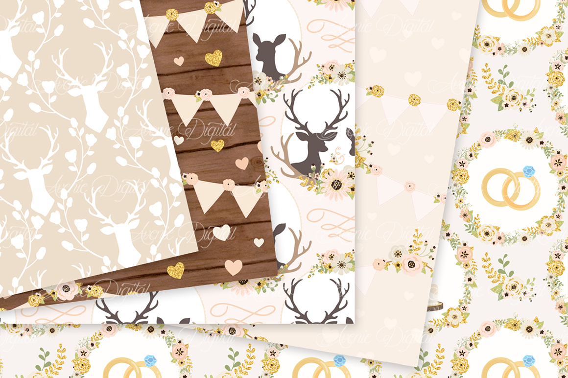Ivory and Gold Wedding Digital Paper - Ivory Rustic Wedding Deer Seamless Patterns example image 2