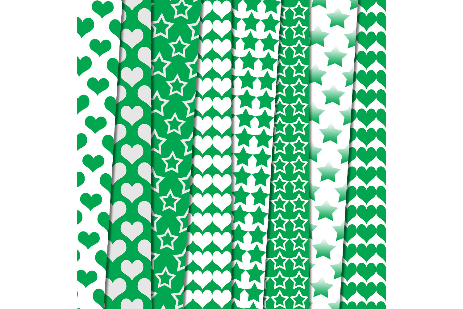 Green heart, stars patterned, green, white, stars, OFF, SALE example image 2