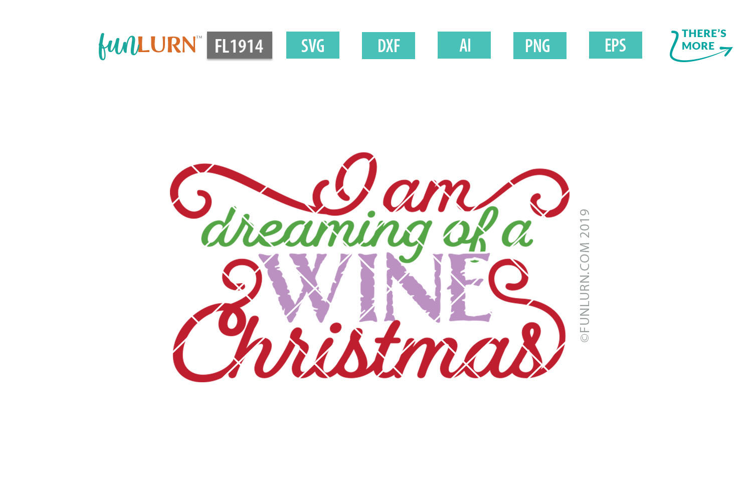 I Am Dreaming of a Wine Christmas SVG Cut File example image 2