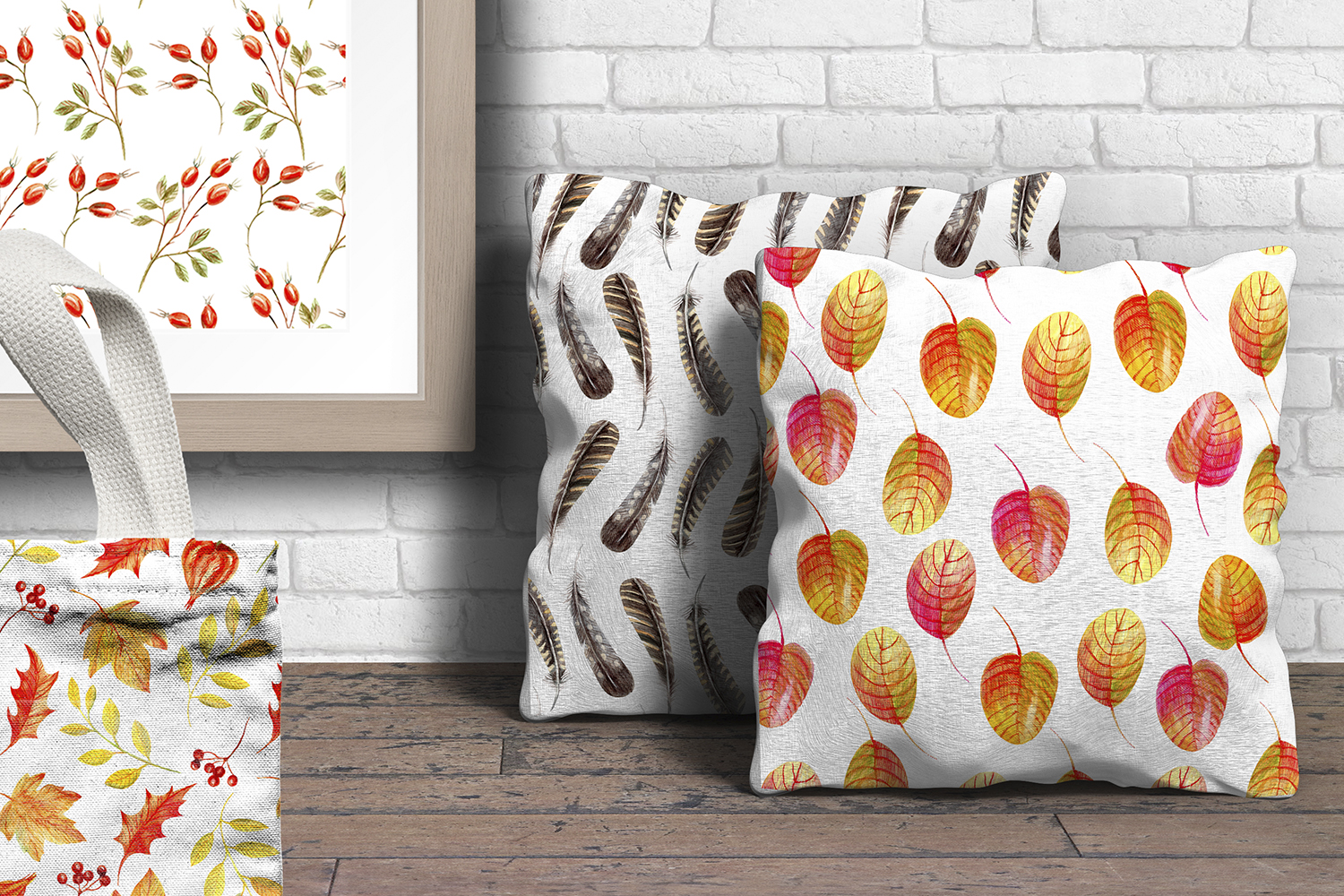 Autumn Watercolor Seamless Patterns Set example image 7