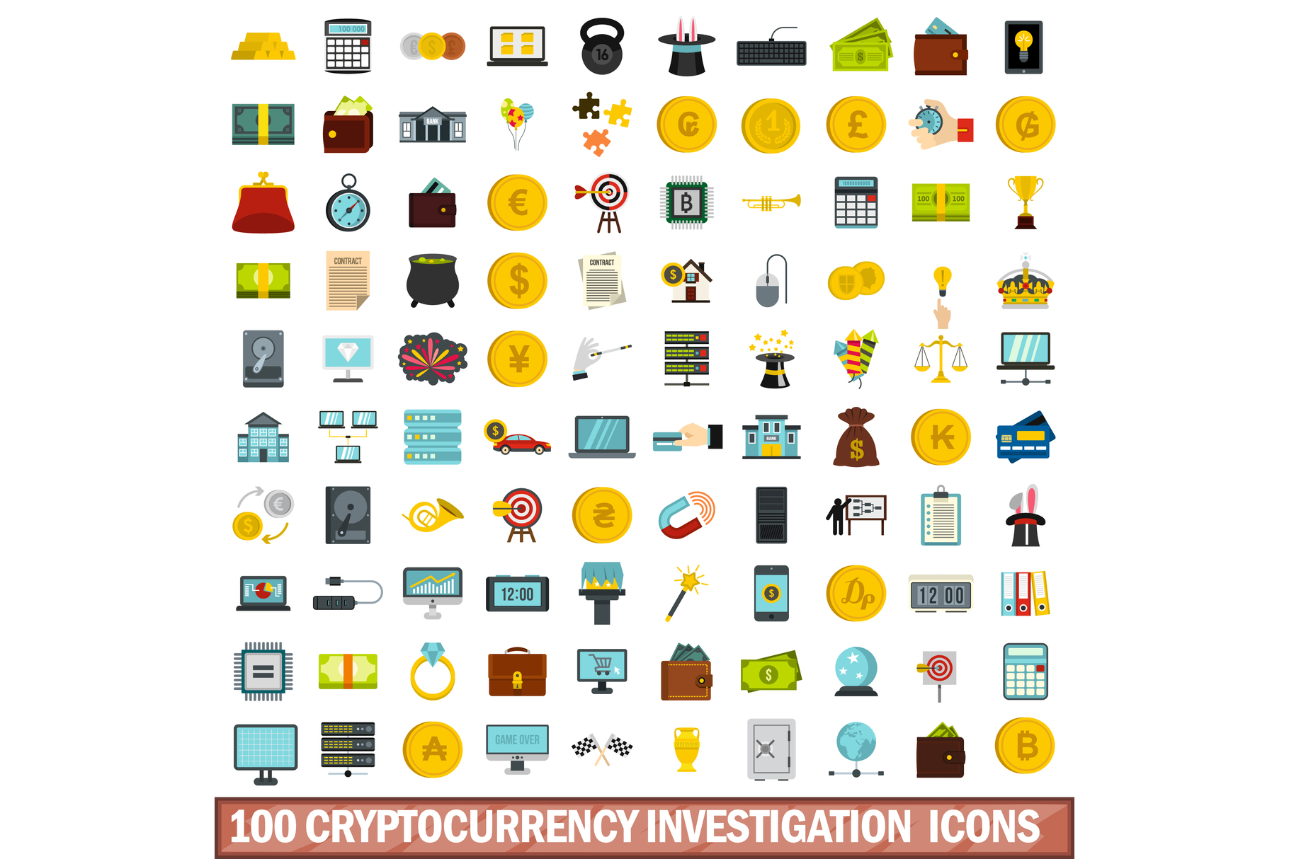 100 cryptocurrency investigation icons set example image 1