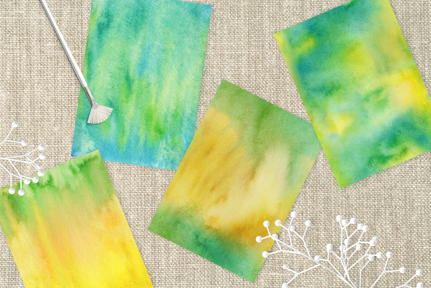 Watercolor Hand Drawn Seamless Textures example image 5