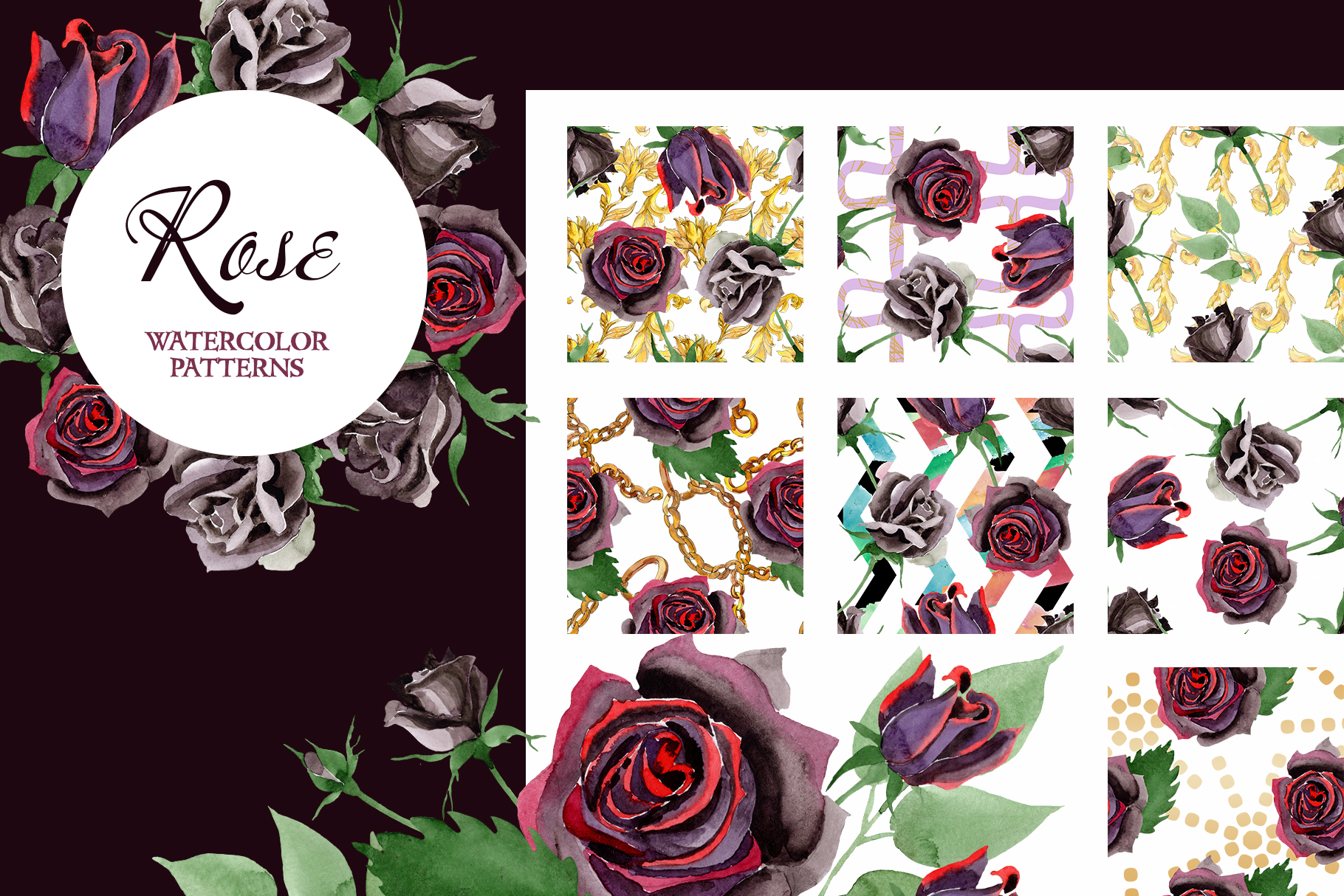 Exclusive black rose watercolor png example image 4