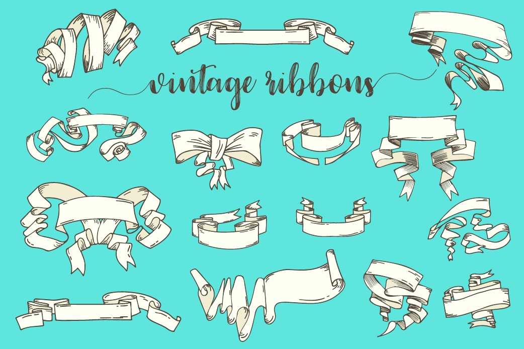 Vintage Ribbons and Banners Hand Drawn Vector Set example image 1