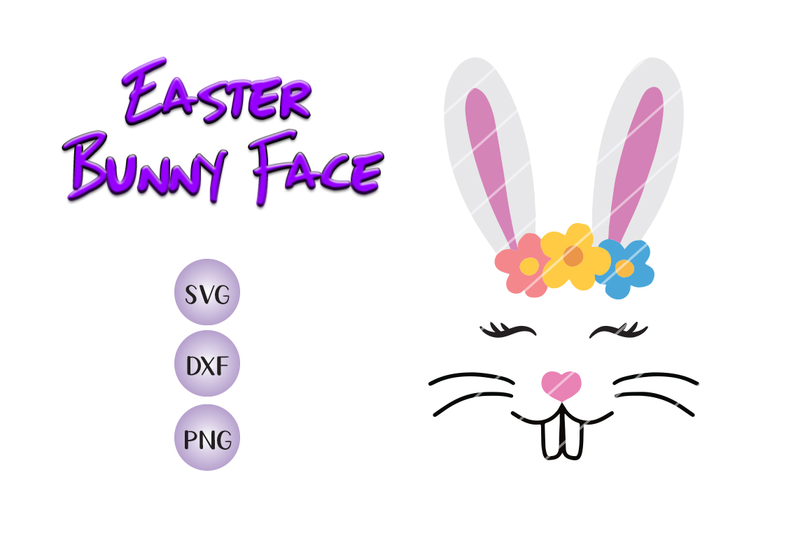 Easter Bunny Face - SVG DXF PNG -for crafters example image 1