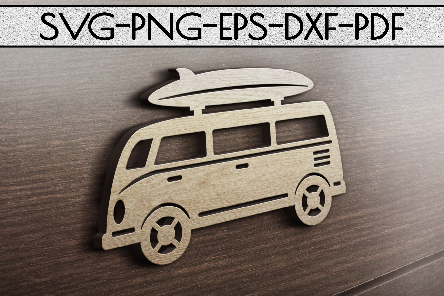 Summer Surf Papercut Template, Bus With Surf Board SVG, DXF example image 3