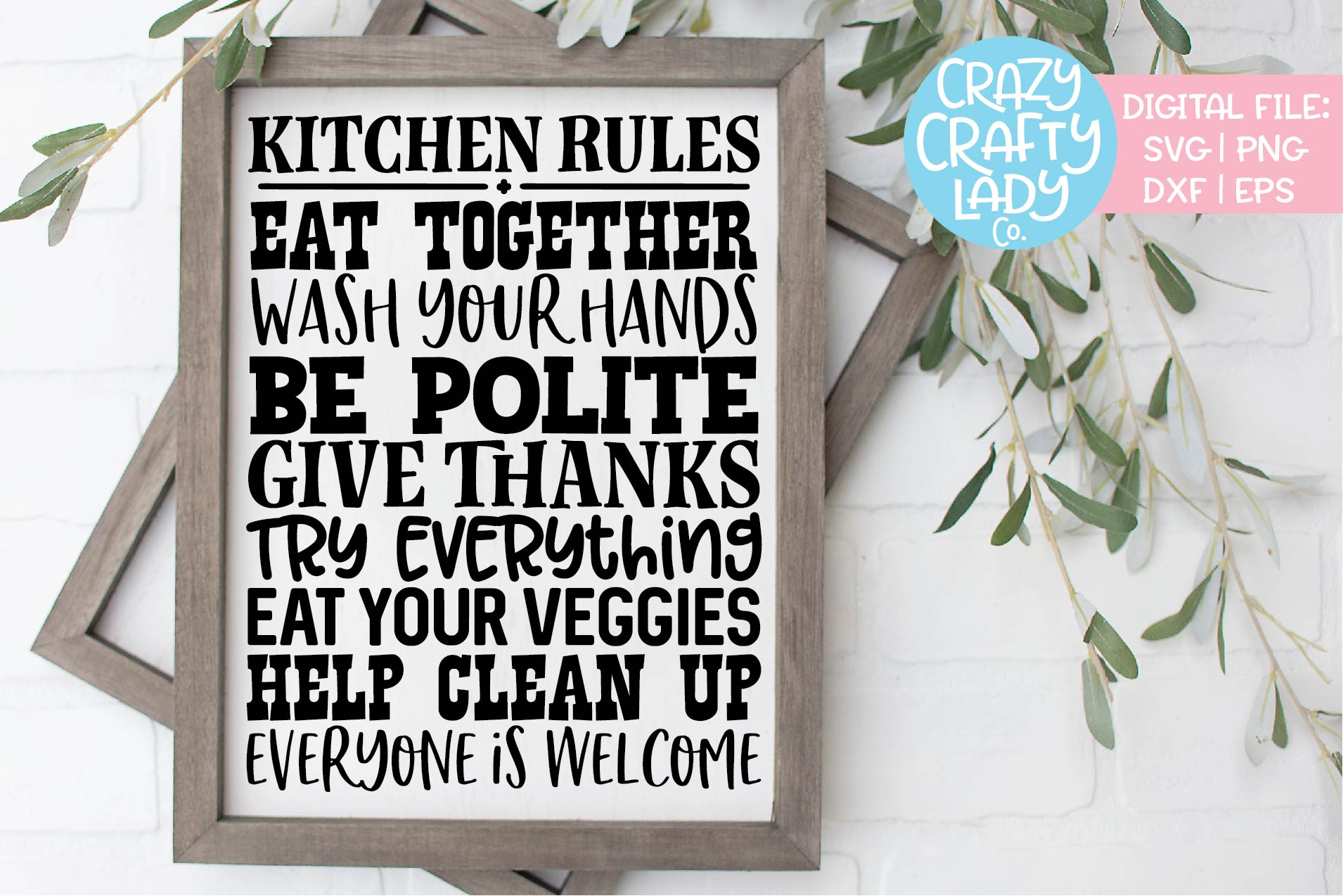 Kitchen Rules Wood Sign SVG DXF EPS PNG Cut File example image 1