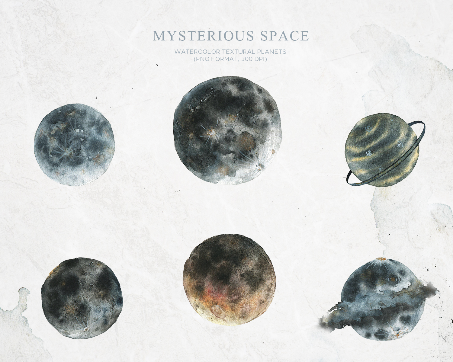 Watercolor space planets- moon clipart example image 2