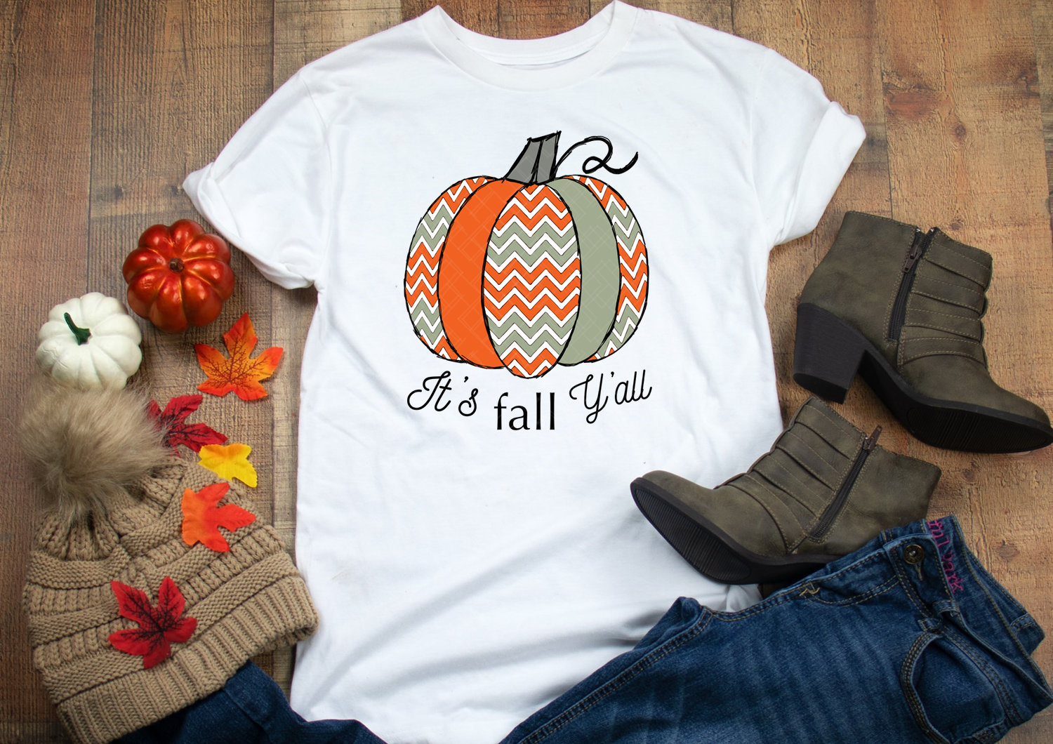 Fall Pumpkins Bundle Sublimation PNG Orange Sage Chevrons example image 4