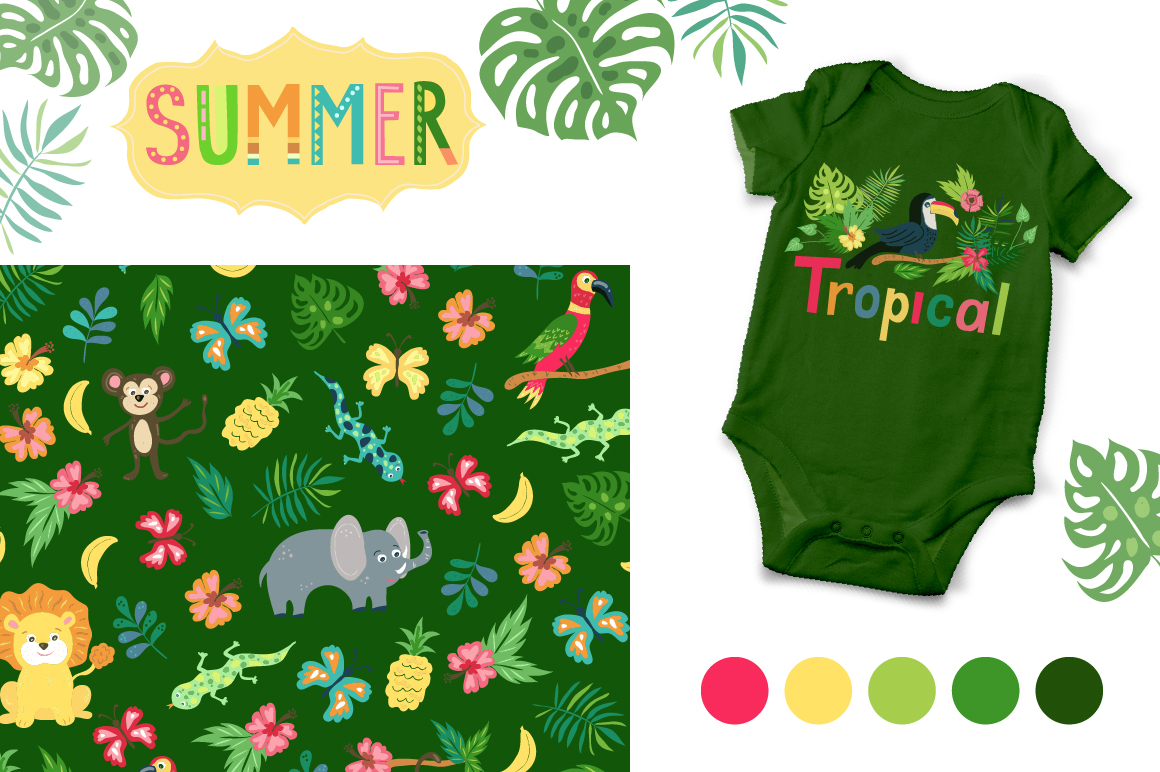 Summer Tropical Cute Vector Pack example image 7