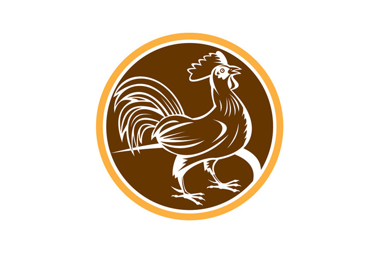 Chicken Rooster Side Circle Woodcut example image 1