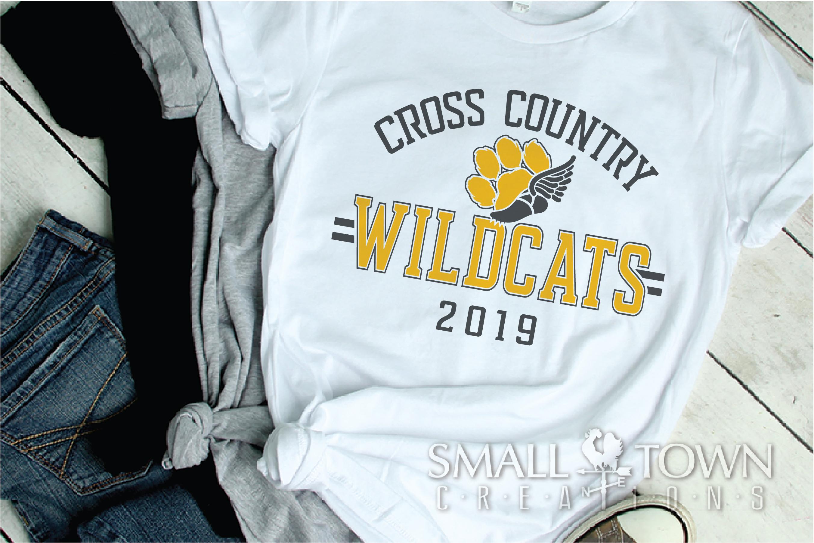 Wildcat Cross Country, Paw Print, PRINT, CUT & DESIGN example image 2