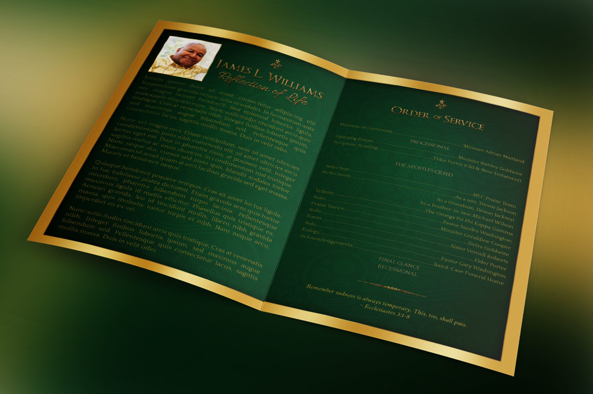 Green Regal Funeral Program Template example image 2