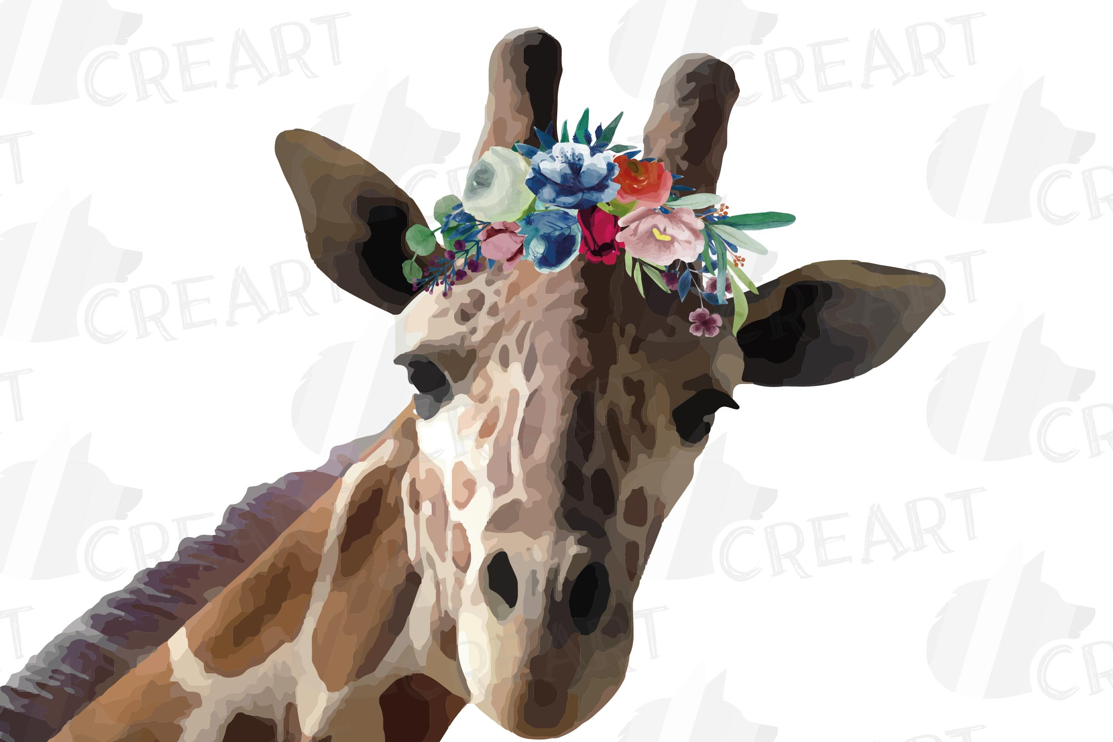 Floral crown giraffe animal wall art. Watercolour giraffe. example image 3