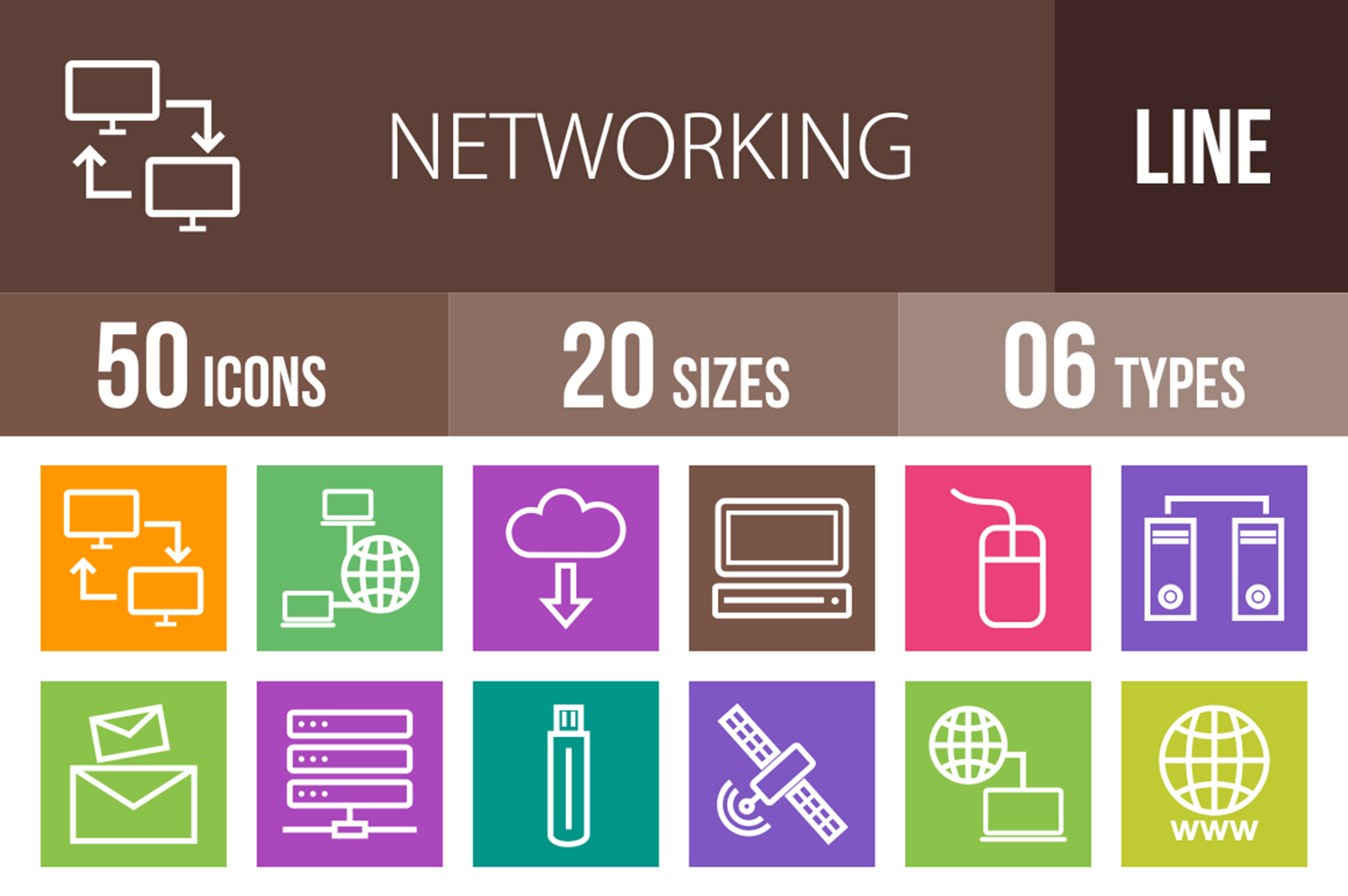 50 Networking Line Multicolor B/G Icons example image 1